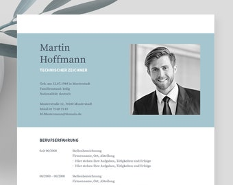 """Application templates German   Curriculum vitae template    eBook with video   Word, Apple Pages, OpenOffice, and LibreOffice   """"NAPEA blue"""""""
