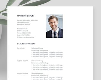 """Application template German   Curriculum vitae template    eBook with video   Word, Apple Pages, OpenOffice, and LibreOffice   """"LIBERO"""""""