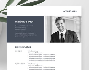 Application templates German   Curriculum vitae template    eBook with video   Word, Pages, OpenOffice, and LibreOffice   TITANUS dark blue