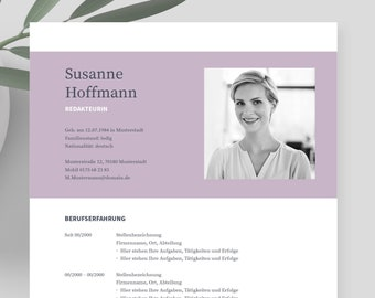 """Application templates German   Curriculum vitae template    eBook with video   Word, Pages, OpenOffice, and LibreOffice   """"NAPEA Lavender"""""""