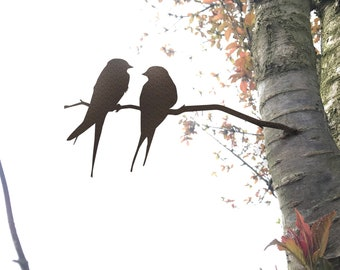 Metal Birds on a Branch - Love Birds - Rusty/Rustic OR NEW Powder Coated Option