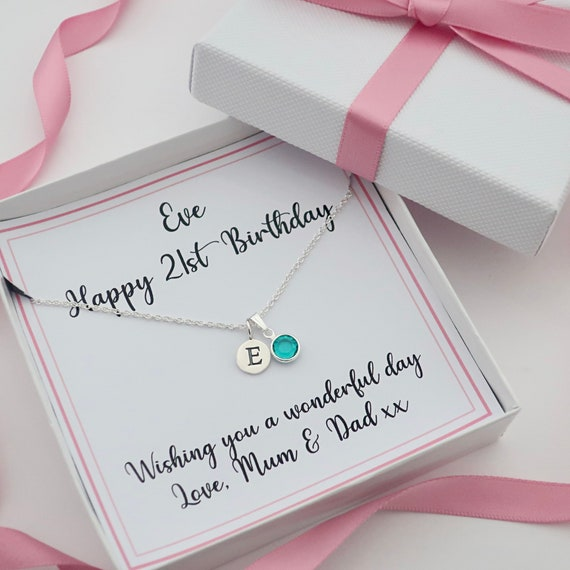 18th 21st Birthday Gift Personalized Jewellery Name Birthstone Necklace Gift Box