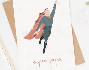 """Super Dad"" card, Dad card, dad's greeting card, father's day card, birth card, pregnancy card"