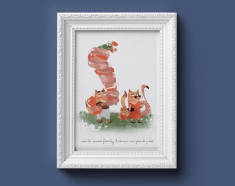 custom illustration, animal posters, children's room posters, birth gift