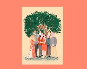 Family portrait/ tailor-made illustration
