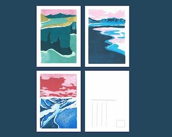 Lot of 3 postcards, sweet travels, linocut