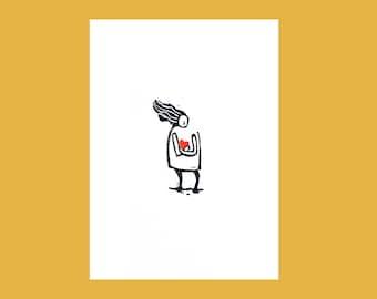 Heart card, linocut