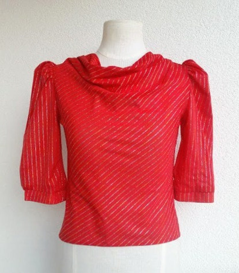 80s Red Elastic Blouse Vintage Cowl Neckline Metalic Thread fabric Size XXS  36