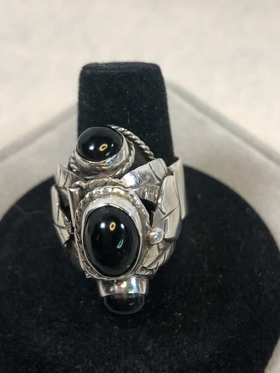 Vintage Sterling Onyx Southwestern Poison Ring