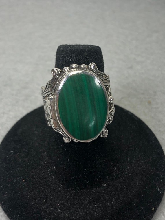Vintage Sterling Malachite Poison Ring