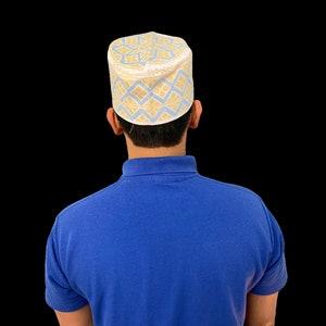 Sky Blue Omani African Hat Malay Embroidery Kuma Songkok Zanzibar Oman Mens Eid