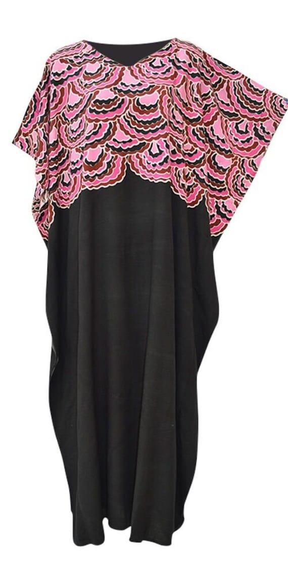 New ARWEN White Blue Black Floral Kaftan Caftan Cool Soft Long Ladies Dress Plus