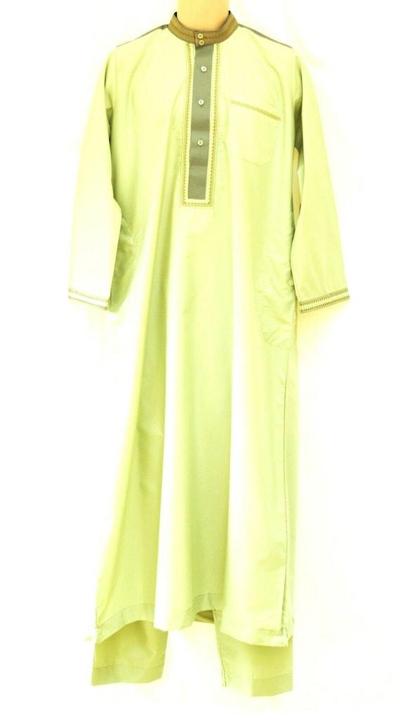 Sebaby Men 2 Piece Set Arab Thobe Thawb Caftan Long-Sleeve Shirt Blouse Tops