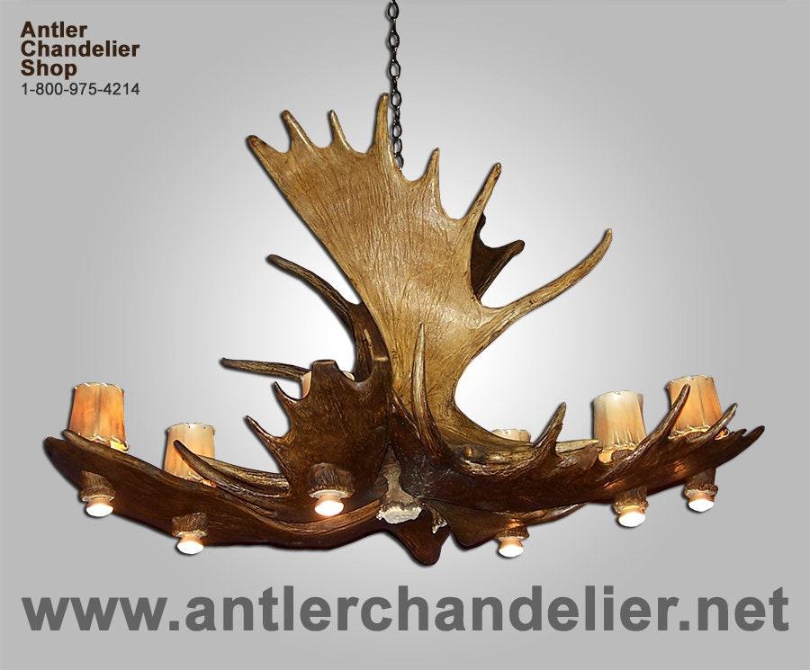 MOOSEPL-8 Real Antler Moose Pool Table Chandelier
