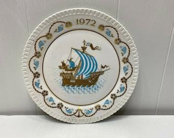 Vintage Sven Jonson Gustavsberg Sweden Christmas plate  Bone china  Collectors plate 1977  gingerbread cookies