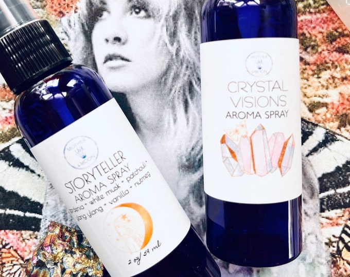 Featured listing image: Stevie Nicks Inspired Body Perfume Mist, Stevie Nicks, StoryTeller, Crystal Visions, Aromatherapy, Natural Perfume Spray, Fleetwood Mac Fan,