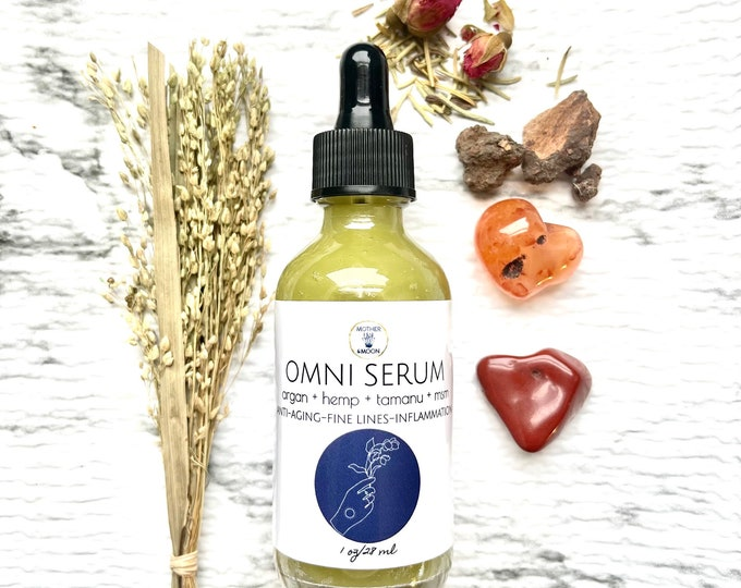 Featured listing image: Natural Anti-Aging & Wrinkle Face Serum, Natural Skin care, MSM + Tamanu + Pomegranate Oil, Omni Face oil