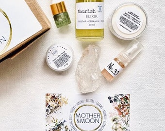 Best Seller Kit, Mother & Moon Trial sample size set, Natural skin care, Try Me Size, travel size, Aromatherapy, Natural serum sample size