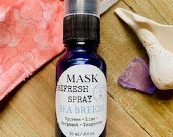 Face Mask Spray, Aromatherapy Mask mist, Sea Breeze Spray, Refreshing Spray, Mask Deodorizer, Cloth Freshener