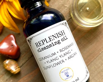 Dry skin cleanser, daily cleanser, Replenish Cleansing Oil, natural skin care, Oil cleansing method, natural face wash