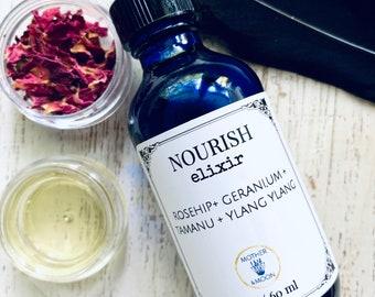 Mature skin face oil, Nourish Elixir, anti-aging face oil, dry skin face moisturizer, wrinkle face serum