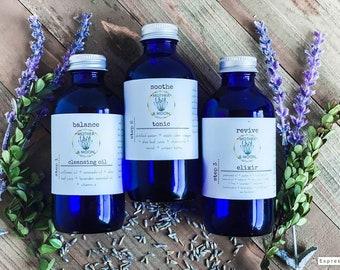 Balance Natural Skin Care Set, Natural Essential Oil Skin Care Bundle, Normal Combination Skin Care Regimen, complete skin care kit