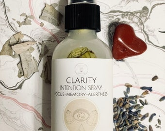 Clarity Aroma Spray, focus intention spray, aromatherapy body and room mist, aura spray, smudge spray