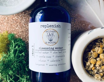 Replenish Cleansing Water, Dry Flaky Skin Care Face Wash, Botanical Skin Cleanser, Natural Skin Care for Winter Rough Skin, Travel Wash