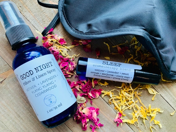 Natural Sleep kit, sleep mask set, deep sleep rollerball and mist, Insomnia Restful Sleep Set
