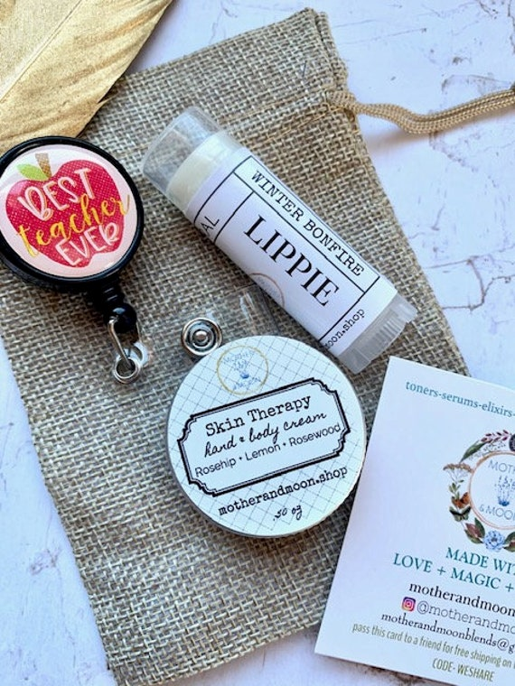 Teacher Christmas gift set, Badge clip gift, Teacher badge reel, Pandemic Teacher present, Teacher Appreciation Beauty box