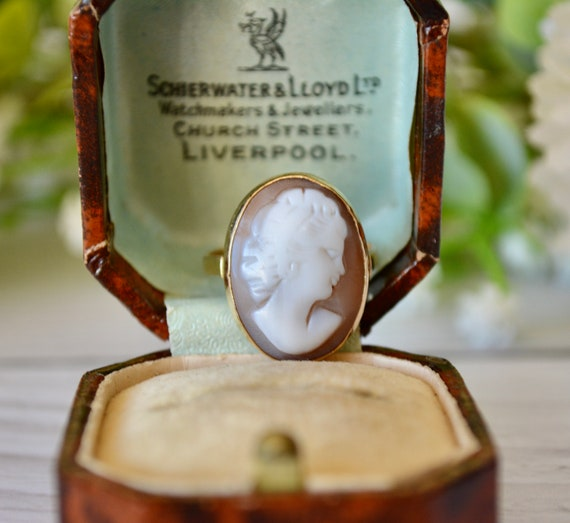 Antique 9K Gold Cameo Ring Size N 1/2(7)(54)