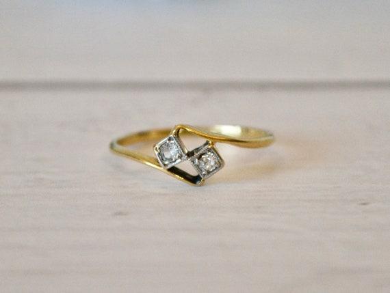 Antique Art Deco Diamond 18K Gold Ring Size M 1/2