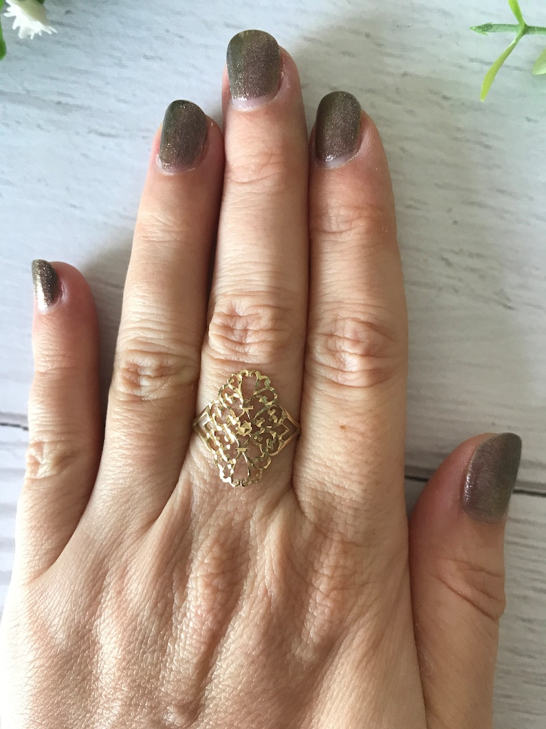 55 9K Gold Openwork Ring Size O 12 7 34