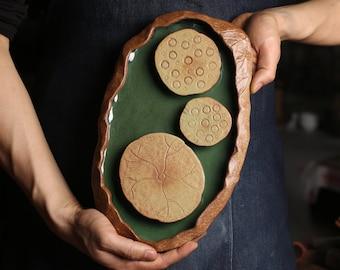 TANGPIN TEA-Ceramic Teapot Trivets Lotus Chinese Kung Fu Tea Trays Accessories