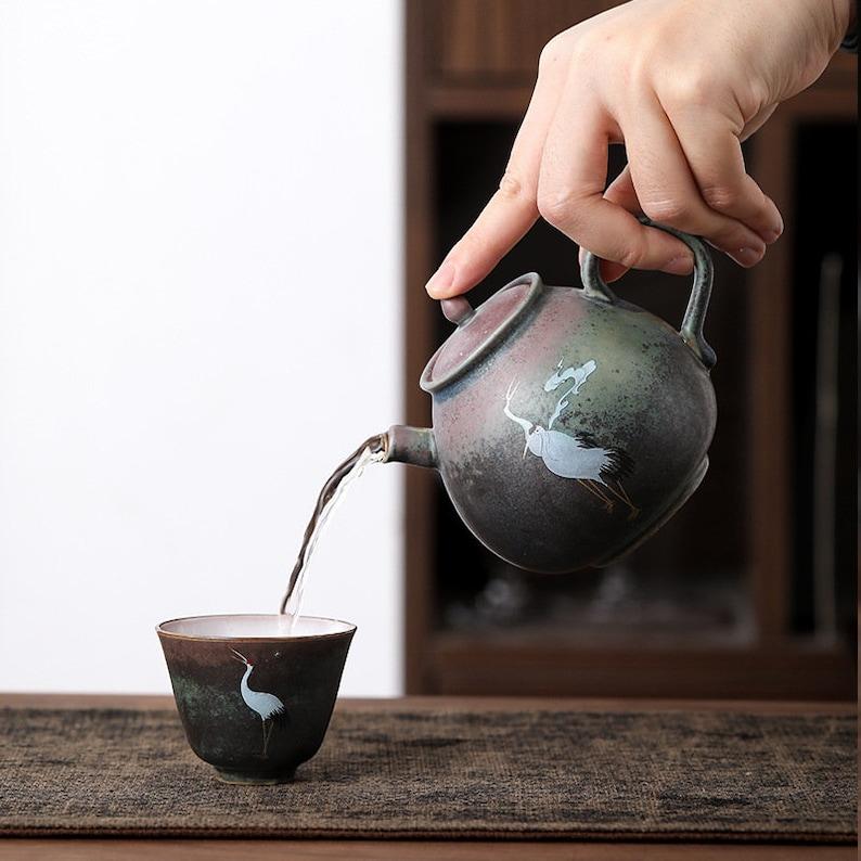 TANGPIN TEA-Ceramic Teapot Crane Handmade Chinese Tea Pot 260ml