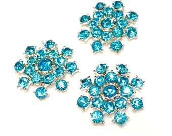 vintage style headband center DIY 5 pcs 18mm  teal acrylic rhinestone button