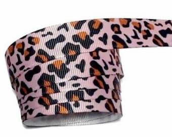 "5 yards Cream /& pink leopard print 5//8/"" grosgrain ribbon by the yard DIY bows"