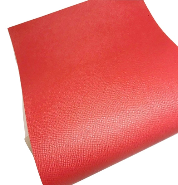Coral solid faux leather fabric Vinyl sheet full or 1//2 sheet