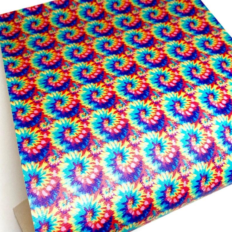 Rainbow tie dye swirl printed faux leather sheet vinyl fabric image 0