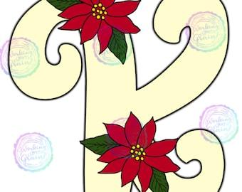Digital Download Poinsettia Christmas Initial Z Door Hanger Template Christmas DecorTemplateDIY Door HangerDIY Christmas Decor