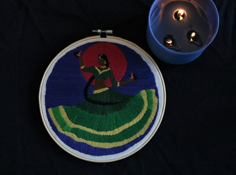 Navratri Dancer Udaya the Daayan Hoop Embroidery Desi Girl South Asian Hand embroidery
