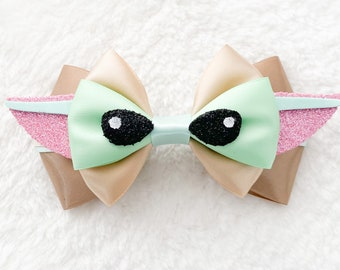 storm trooper bow Star Wars hair bow faux leather bow