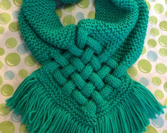 Jade Knitted Looped Cable Scarf, Handmade Neck Warmer, Knit Women's Scarf, Knit Neck Warmer, Criss-Cross Women's Neck Warmer