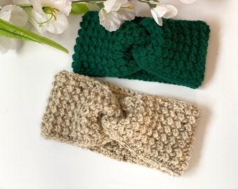 Crochet Ear Warmer, Crochet Headband, Turban Ear Warmer, Boho Head Wrap, Twisted Headband, Twisted Earwarmer, Turban Headwarmer