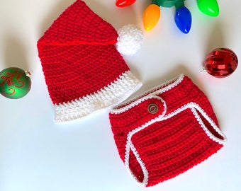 Baby Crochet Santa Hat & Diaper Cover Set, Newborn Christmas Outfit, Christmas Baby Costume
