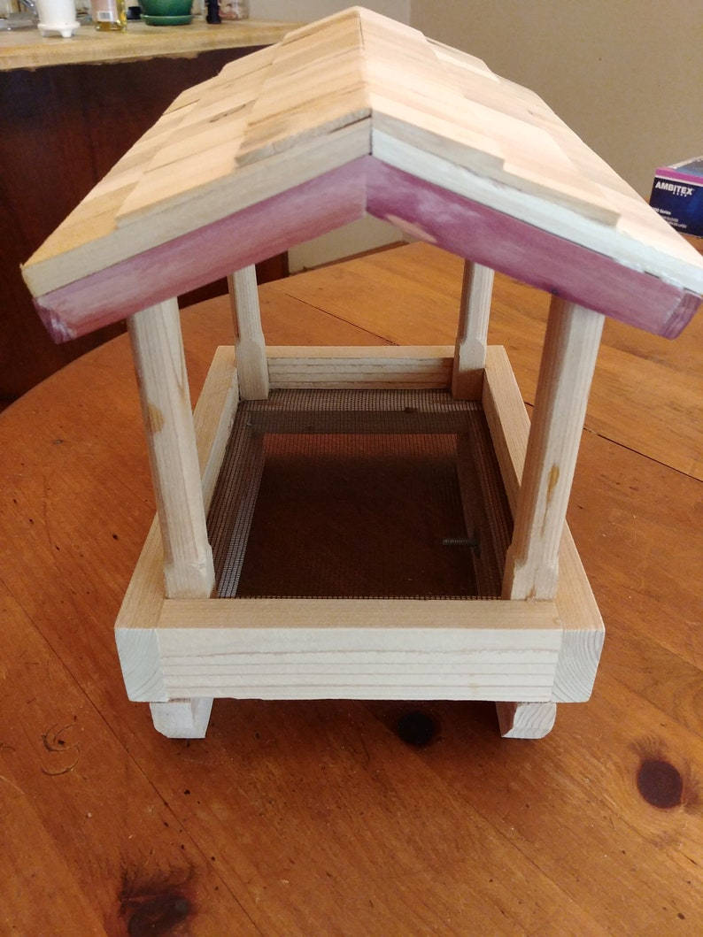 Railing mount tray bird feeder with rustic shingle roof   Etsy
