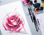 watercolor abstract rose