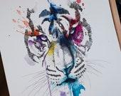 ORIGINAL - Tiger Watercolor Painting