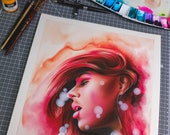 watercolor girl portrait on 100% cotton paper