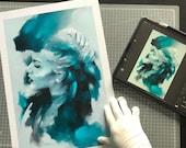Fine Art Print, Digital Watercolor Portrait